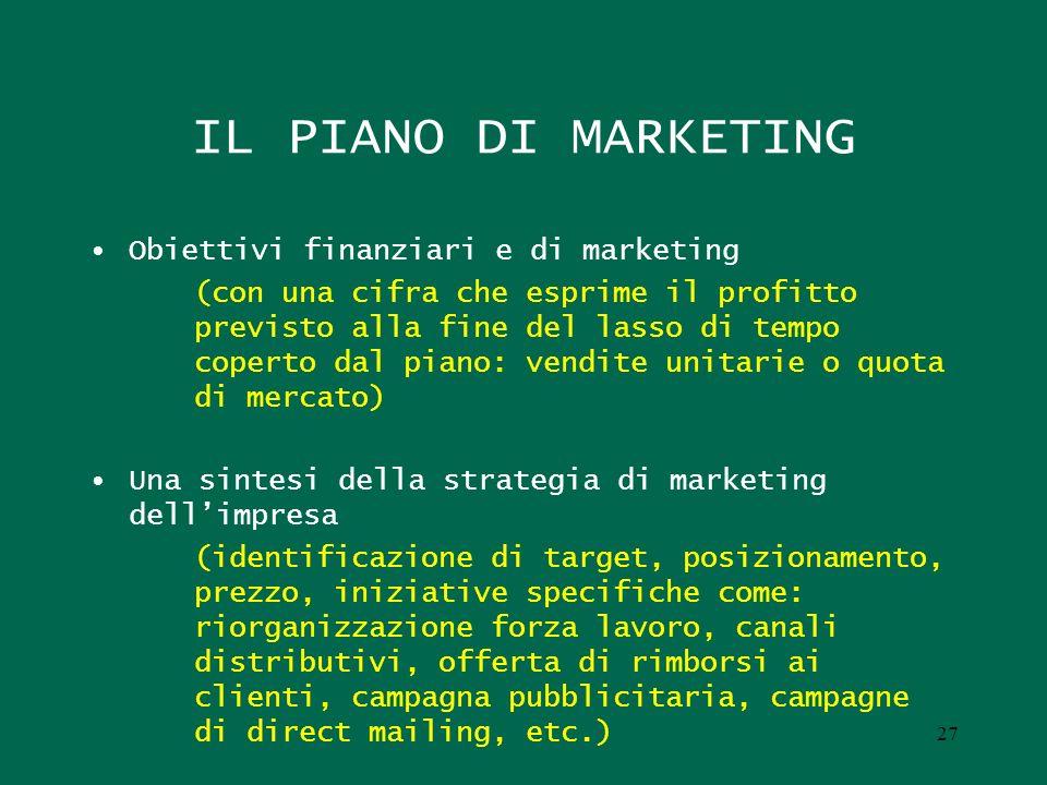 IL PIANO DI MARKETING Obiettivi finanziari e di marketing (con una cifra che esprime il profitto previsto alla fine del lasso di tempo coperto dal pia