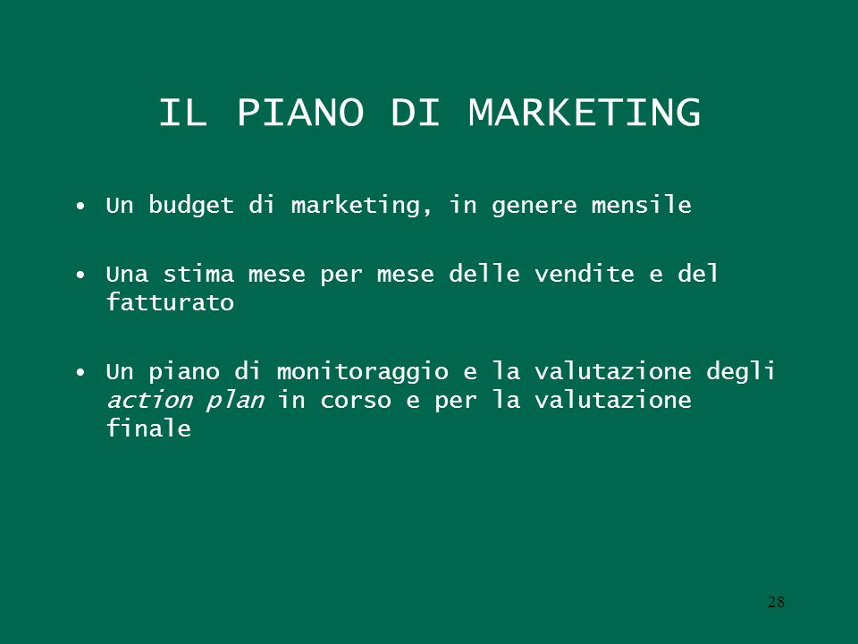 UNA PROPOSTA CORRETTA: IL PIANO DI MARKETING COME RISULTANTE DI PIU PIANI DI MARKETING (Vescovi) Il piano di marketing di offerta Il piano di marketing di influenza Il piano di trade marketing Il piano di retail marketing Il piano di marketing interno Il piano di marketing front-end 29