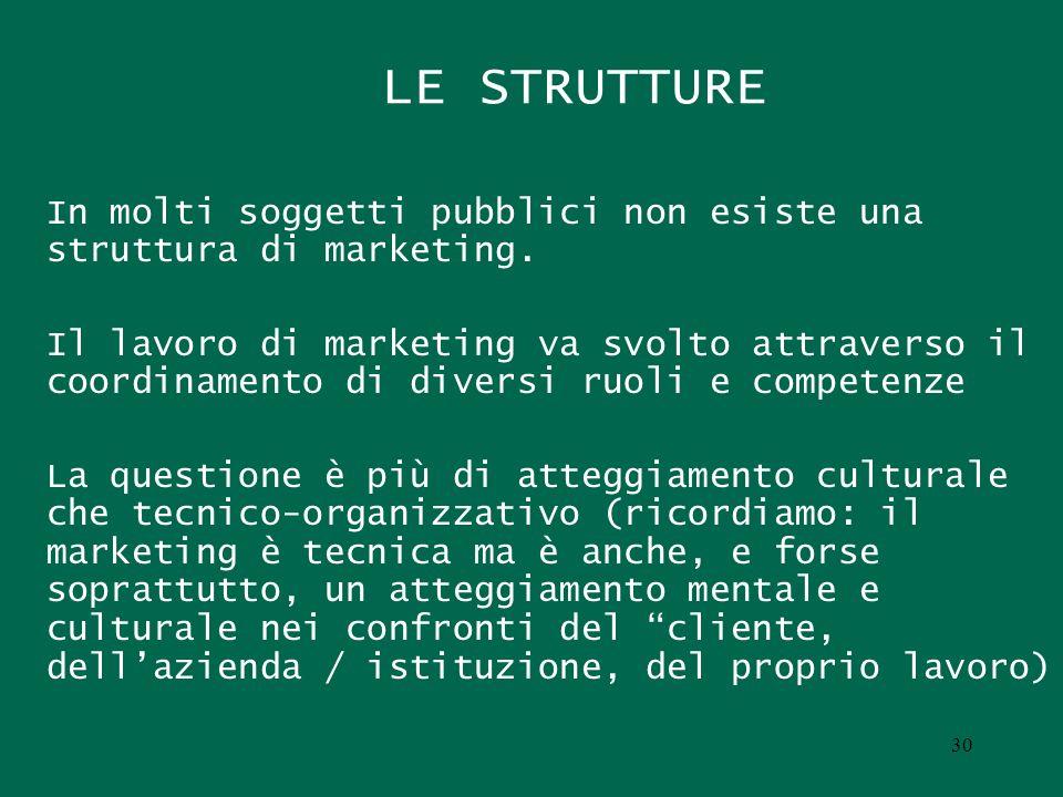LE STRUTTURE In molti soggetti pubblici non esiste una struttura di marketing. Il lavoro di marketing va svolto attraverso il coordinamento di diversi