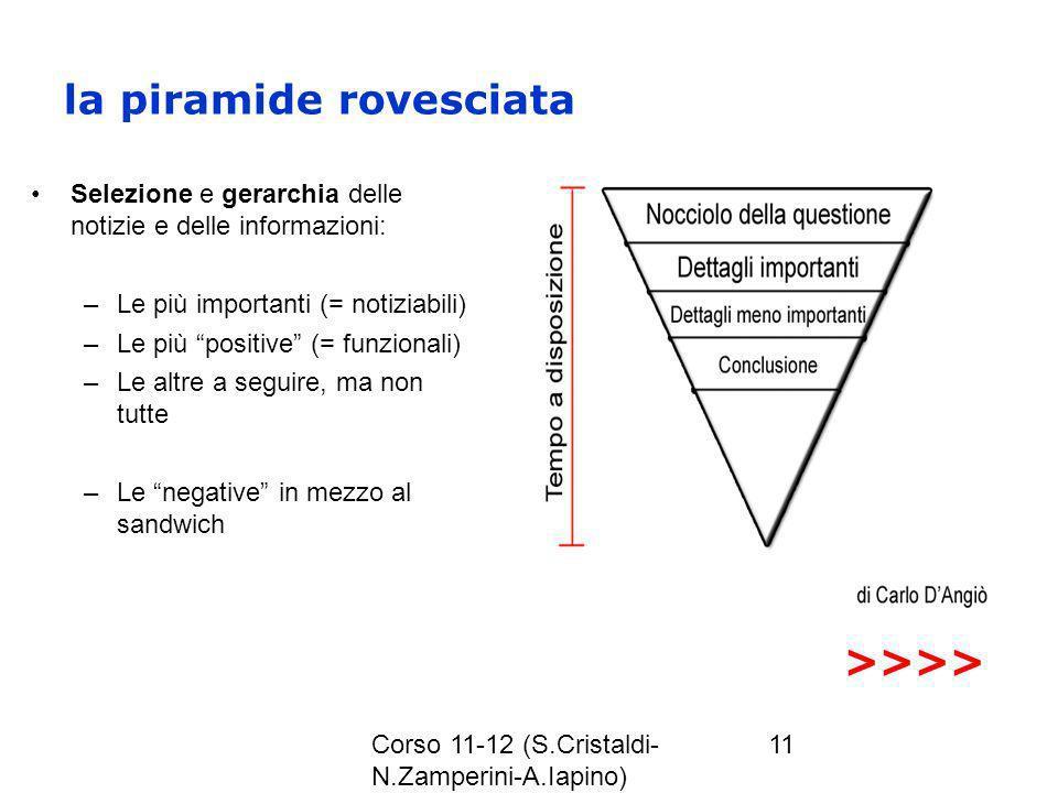 Corso 11-12 (S.Cristaldi- N.Zamperini-A.Iapino) 11 la piramide rovesciata Selezione e gerarchia delle notizie e delle informazioni: –Le più importanti