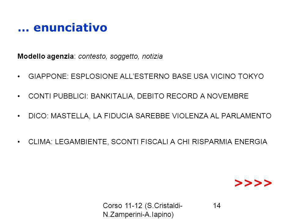 Corso 11-12 (S.Cristaldi- N.Zamperini-A.Iapino) 14 … enunciativo Modello agenzia: contesto, soggetto, notizia GIAPPONE: ESPLOSIONE ALLESTERNO BASE USA