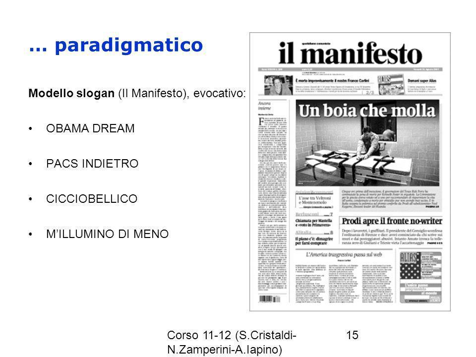Corso 11-12 (S.Cristaldi- N.Zamperini-A.Iapino) 15 … paradigmatico Modello slogan (Il Manifesto), evocativo: OBAMA DREAM PACS INDIETRO CICCIOBELLICO M