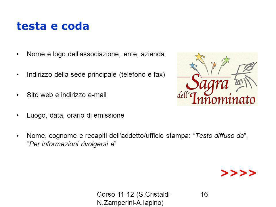 Corso 11-12 (S.Cristaldi- N.Zamperini-A.Iapino) 16 testa e coda Nome e logo dellassociazione, ente, azienda Indirizzo della sede principale (telefono