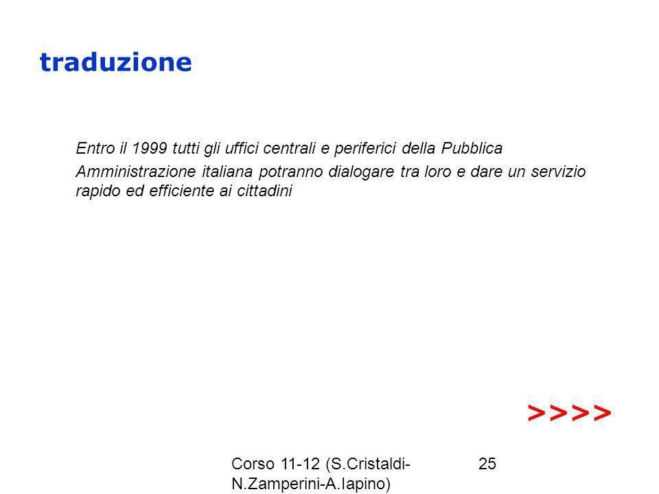 Corso 11-12 (S.Cristaldi- N.Zamperini-A.Iapino) 25 traduzione Entro il 1999 tutti gli uffici centrali e periferici della Pubblica Amministrazione ital
