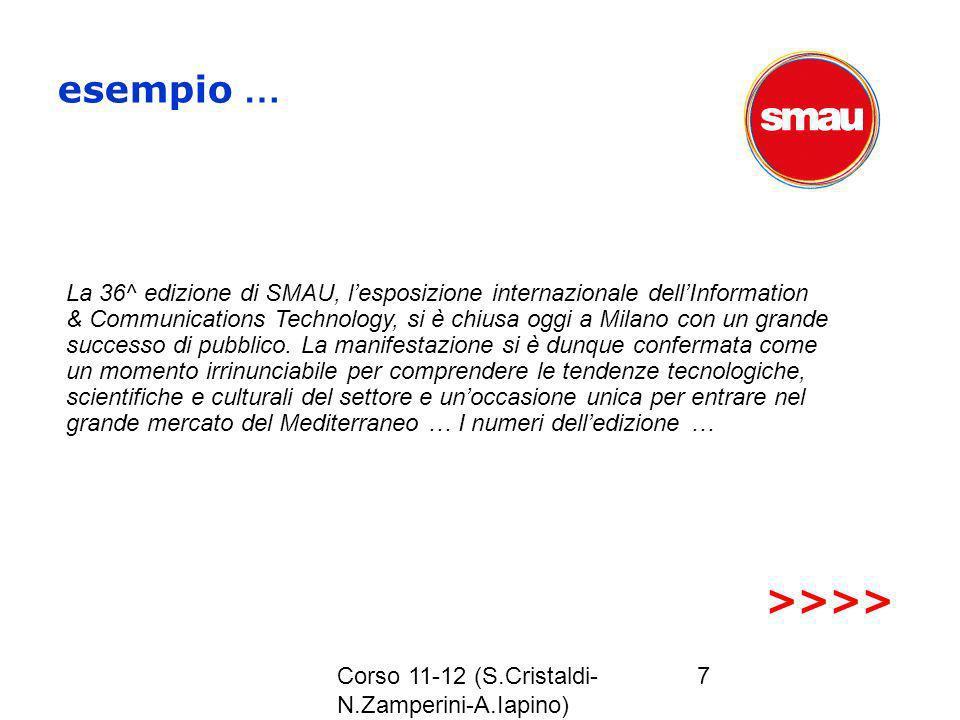 Corso 11-12 (S.Cristaldi- N.Zamperini-A.Iapino) 7 esempio … La 36^ edizione di SMAU, lesposizione internazionale dellInformation & Communications Tech