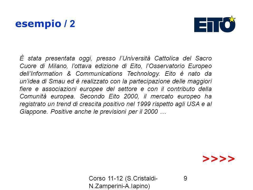 Corso 11-12 (S.Cristaldi- N.Zamperini-A.Iapino) 9 esempio / 2 È stata presentata oggi, presso lUniversità Cattolica del Sacro Cuore di Milano, lottava