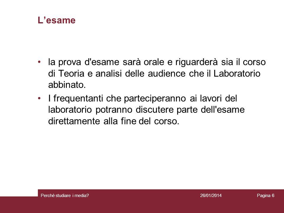 I testi desame Per il corso di Teoria e analisi delle audience: R.