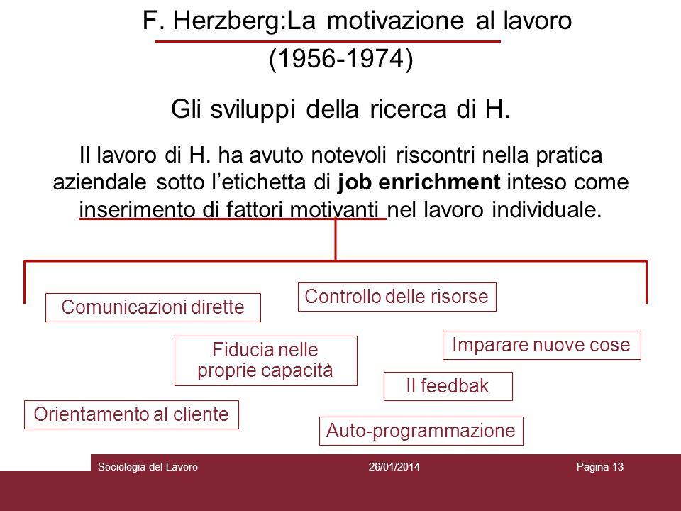 F. Herzberg:La motivazione al lavoro (1956-1974) Gli sviluppi della ricerca di H.