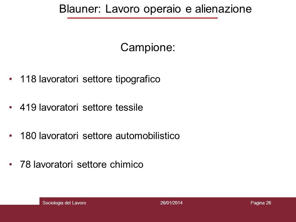 Blauner: Lavoro operaio e alienazione Campione: 118 lavoratori settore tipografico 419 lavoratori settore tessile 180 lavoratori settore automobilistico 78 lavoratori settore chimico 26/01/2014Pagina 26Sociologia del Lavoro