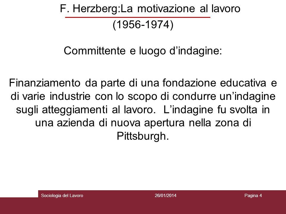 F. Herzberg:La motivazione al lavoro (1956-1974) Committente e luogo dindagine: Finanziamento da parte di una fondazione educativa e di varie industri