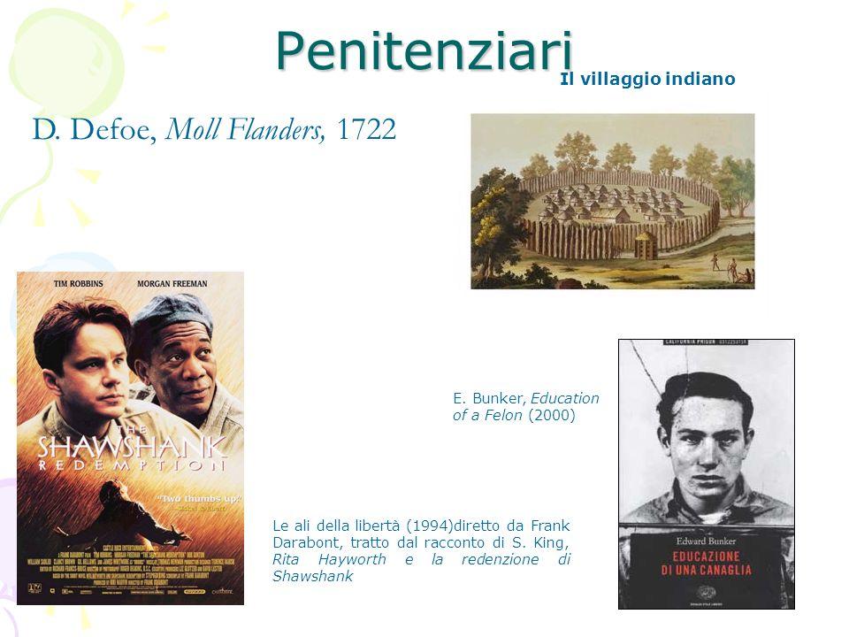 Penitenziari D. Defoe, Moll Flanders, 1722 E. Bunker, Education of a Felon (2000) Il villaggio indiano Le ali della libertà (1994)diretto da Frank Dar