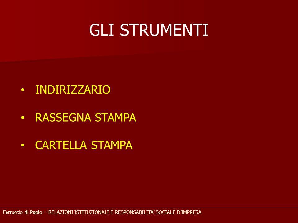 GLI STRUMENTI INDIRIZZARIO RASSEGNA STAMPA CARTELLA STAMPA Ferruccio di Paolo - -RELAZIONI ISTITUZIONALI E RESPONSABILITA SOCIALE DIMPRESA