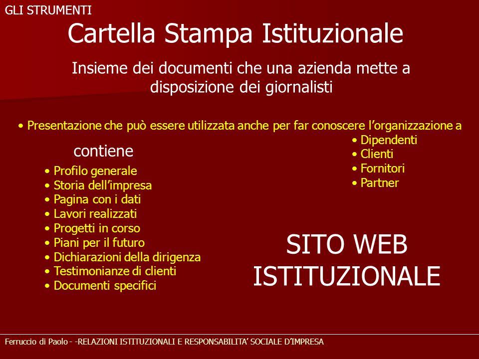 Insieme dei documenti che una azienda mette a disposizione dei giornalisti Cartella Stampa Istituzionale Presentazione che può essere utilizzata anche