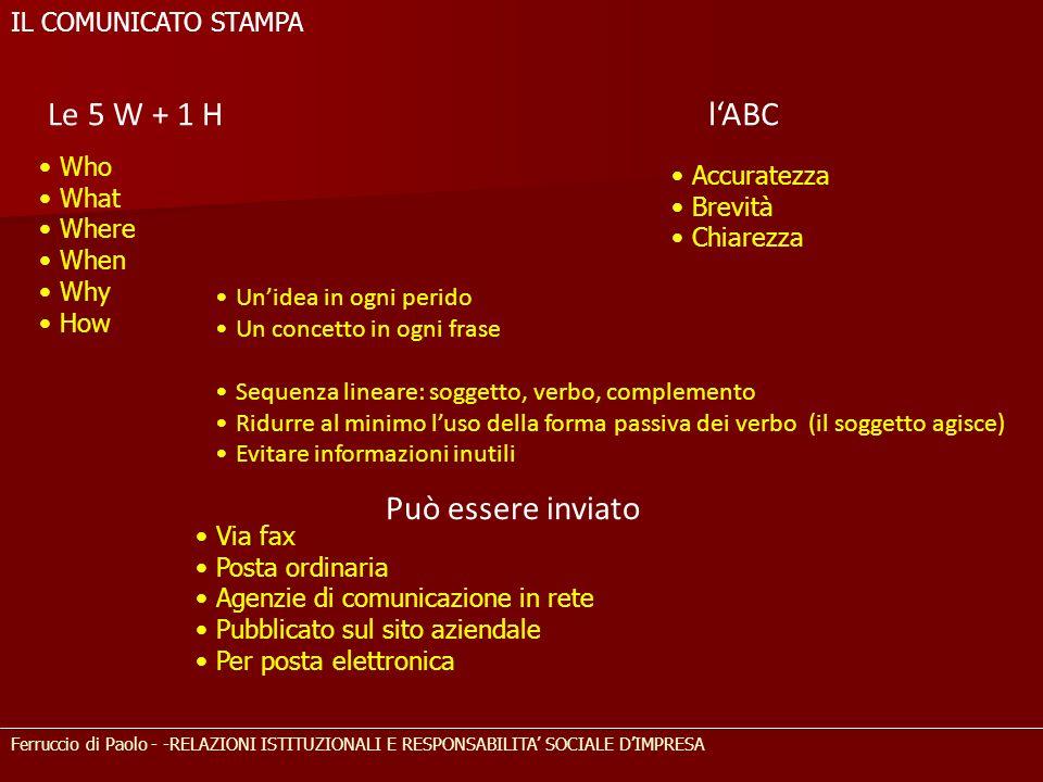 lABC Who What Where When Why How Ferruccio di Paolo - -RELAZIONI ISTITUZIONALI E RESPONSABILITA SOCIALE DIMPRESA IL COMUNICATO STAMPA Accuratezza Brev