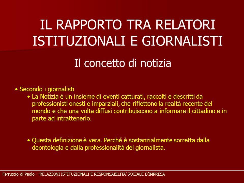 IL RAPPORTO TRA RELATORI ISTITUZIONALI E GIORNALISTI Ferruccio di Paolo - -RELAZIONI ISTITUZIONALI E RESPONSABILITA SOCIALE DIMPRESA Il concetto di no