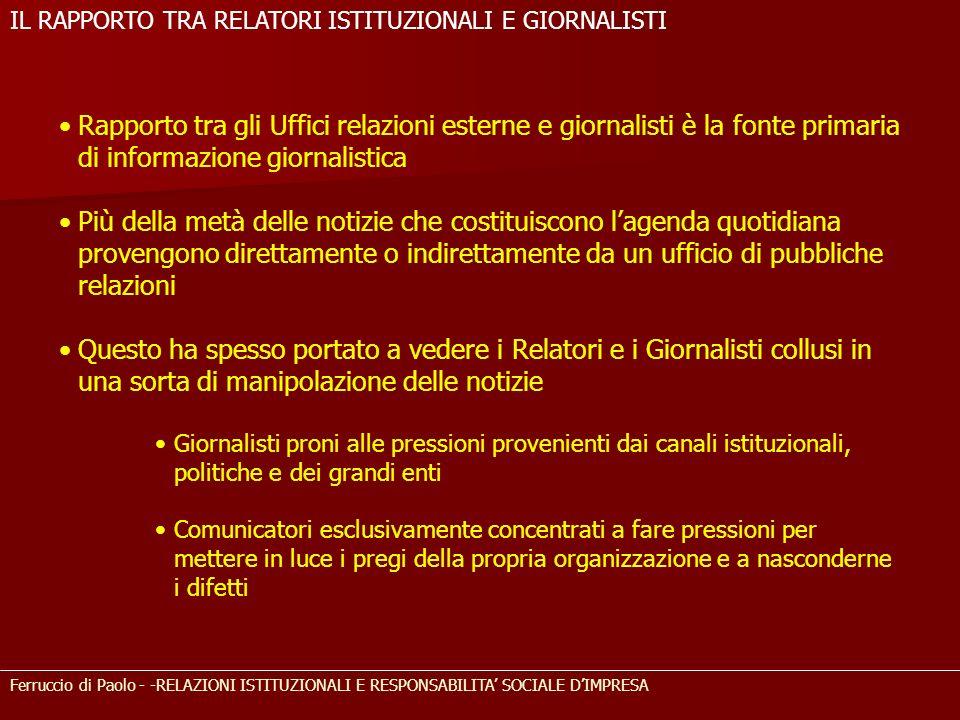 Ferruccio di Paolo - -RELAZIONI ISTITUZIONALI E RESPONSABILITA SOCIALE DIMPRESA Rapporto tra gli Uffici relazioni esterne e giornalisti è la fonte pri
