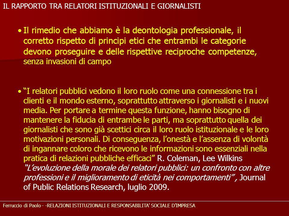 Ferruccio di Paolo - -RELAZIONI ISTITUZIONALI E RESPONSABILITA SOCIALE DIMPRESA Il rimedio che abbiamo è la deontologia professionale, il corretto ris