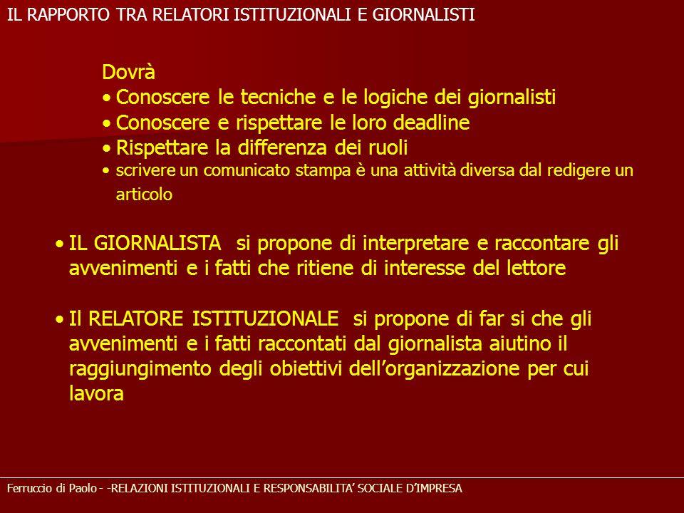 Ferruccio di Paolo - -RELAZIONI ISTITUZIONALI E RESPONSABILITA SOCIALE DIMPRESA Dovrà Conoscere le tecniche e le logiche dei giornalisti Conoscere e r