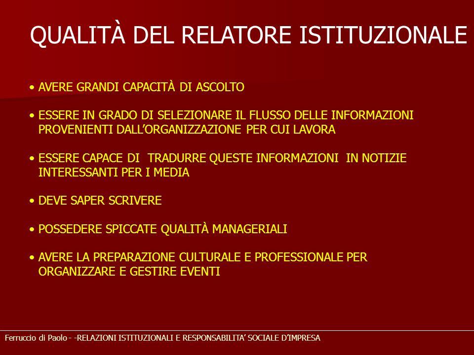 QUALITÀ DEL RELATORE ISTITUZIONALE Ferruccio di Paolo - -RELAZIONI ISTITUZIONALI E RESPONSABILITA SOCIALE DIMPRESA AVERE GRANDI CAPACITÀ DI ASCOLTO ES