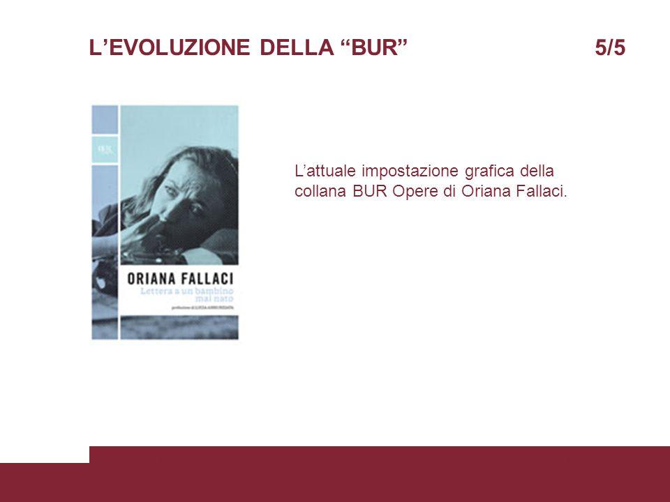 LEVOLUZIONE DELLA BUR 5/5 05/06/2008Scienze della ComunicazionePagina 11 Lattuale impostazione grafica della collana BUR Opere di Oriana Fallaci.
