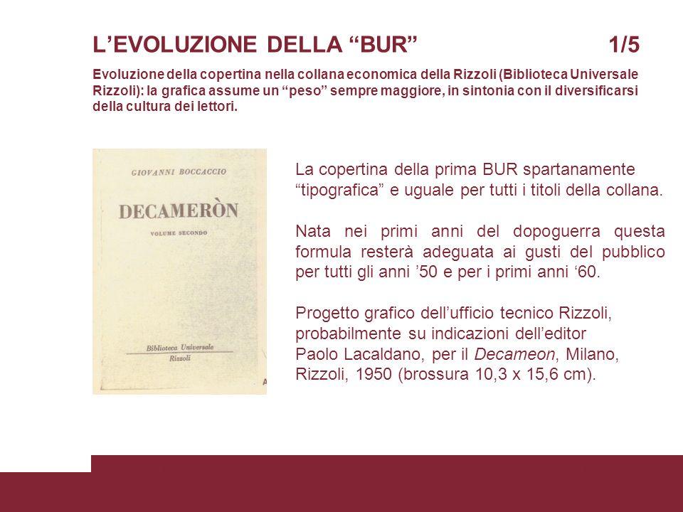 LEVOLUZIONE DELLA BUR 1/5 Evoluzione della copertina nella collana economica della Rizzoli (Biblioteca Universale Rizzoli): la grafica assume un peso