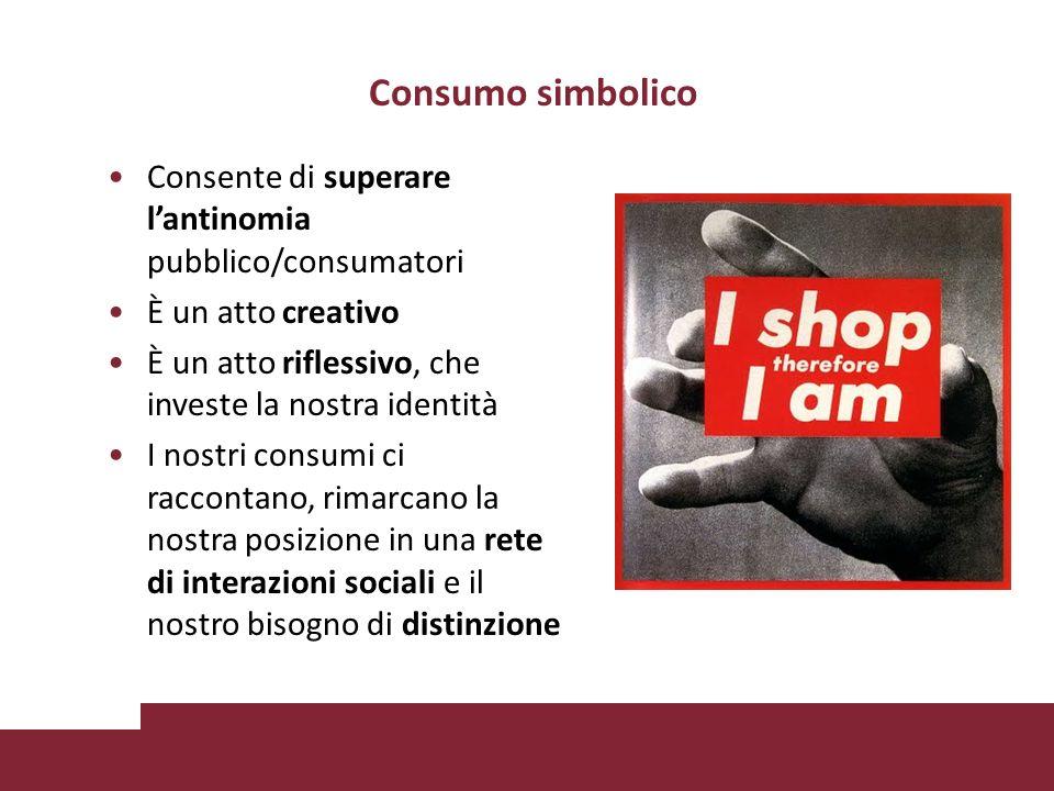 Consumo simbolico Consente di superare lantinomia pubblico/consumatori È un atto creativo È un atto riflessivo, che investe la nostra identità I nostri consumi ci raccontano, rimarcano la nostra posizione in una rete di interazioni sociali e il nostro bisogno di distinzione