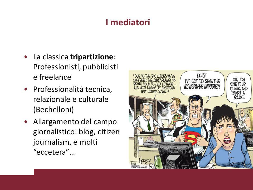 I mediatori La classica tripartizione: Professionisti, pubblicisti e freelance Professionalità tecnica, relazionale e culturale (Bechelloni) Allargamento del campo giornalistico: blog, citizen journalism, e molti eccetera…