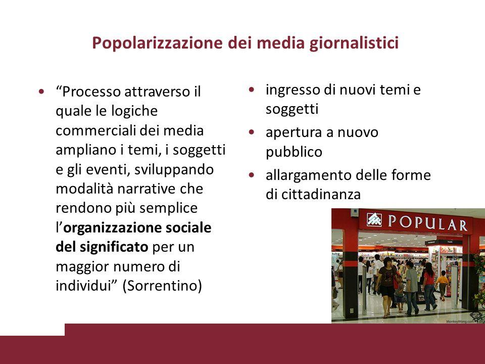 Popolarizzazione dei media giornalistici ingresso di nuovi temi e soggetti apertura a nuovo pubblico allargamento delle forme di cittadinanza Processo attraverso il quale le logiche commerciali dei media ampliano i temi, i soggetti e gli eventi, sviluppando modalità narrative che rendono più semplice lorganizzazione sociale del significato per un maggior numero di individui (Sorrentino)