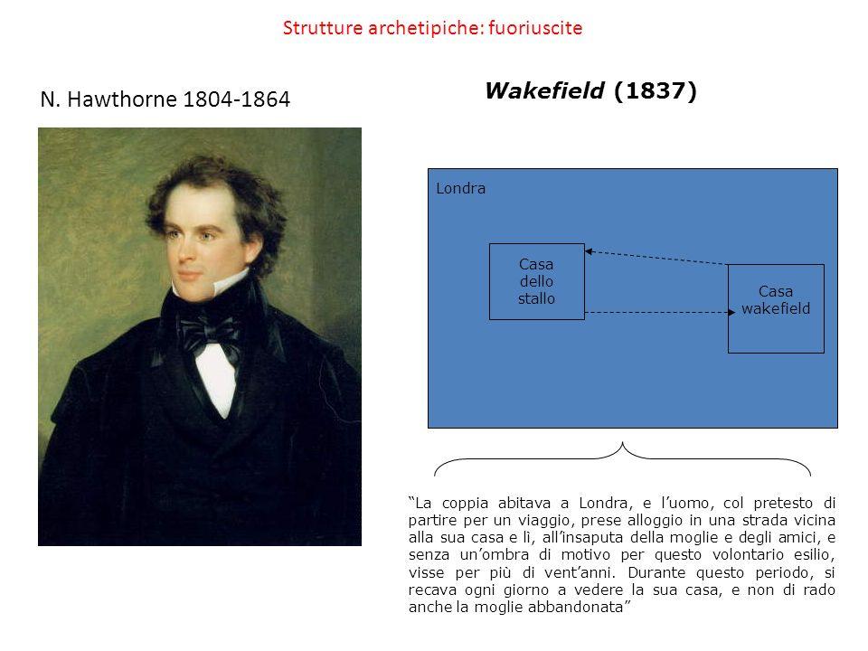 Strutture archetipiche: fuoriuscite N. Hawthorne 1804-1864 Wakefield (1837) Londra Casa wakefield Casa dello stallo La coppia abitava a Londra, e luom