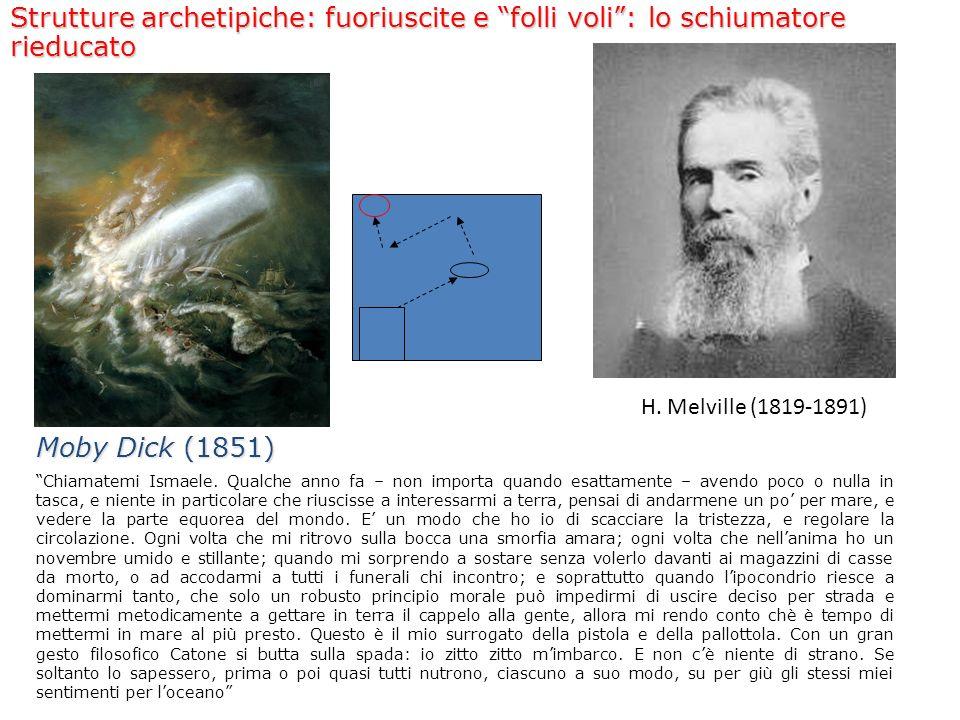 H. Melville (1819-1891) Strutture archetipiche: fuoriuscite e folli voli: lo schiumatore rieducato Moby Dick (1851) Chiamatemi Ismaele. Qualche anno f