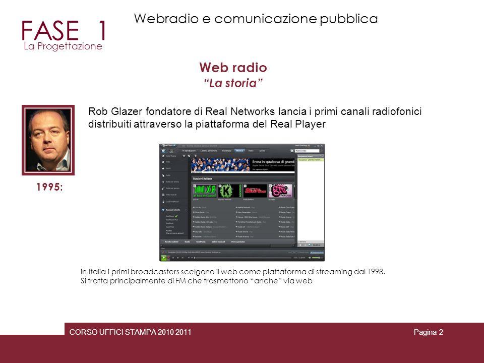 CORSO UFFICI STAMPA 2010 2011Pagina 2 Web radio La storia 1995: Rob Glazer fondatore di Real Networks lancia i primi canali radiofonici distribuiti at