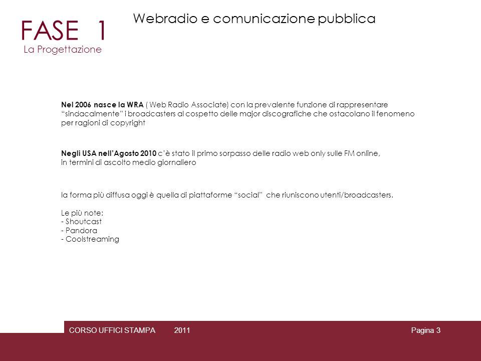 CORSO UFFICI STAMPA 2010 2011 gbttgl@gmail.com Pagina 14 RADIO MEZZO La scelta del tipo di contenuti da trasmettere è mirata al raggiungimento di più target possibili e del maggior numero di persone nellambito di ciascun target Lascolto (quantitativo) determina il valore degli inserti pubblicitari RTL 102.5 13/11/2010 FASE 2 La Programmazione Webradio e comunicazione pubblica