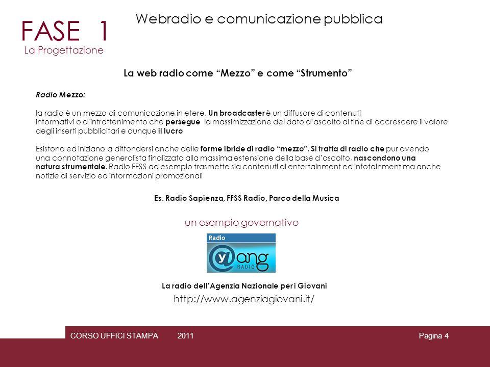 CORSO UFFICI STAMPA 2010 2011Pagina 4 La web radio come Mezzo e come Strumento Radio Mezzo: la radio è un mezzo di comunicazione in etere. Un broadcas