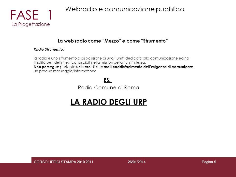 26/01/2014CORSO UFFICI STAMPA 2010 2011Pagina 5 Radio Strumento: la radio è uno strumento a disposizione di una unit dedicata alla comunicazione ed ha