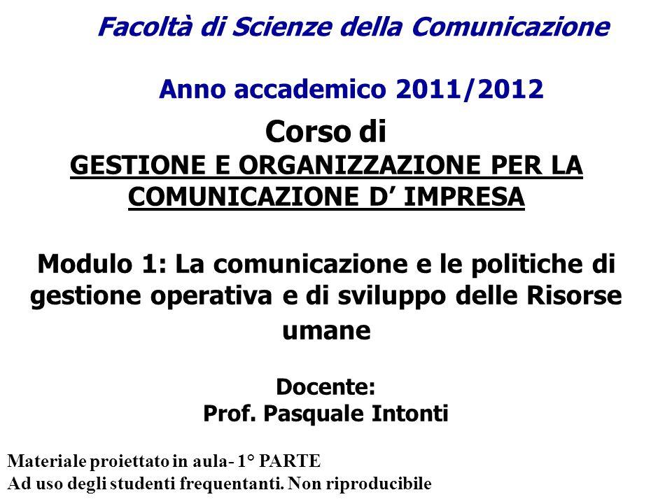 Corso di GESTIONE E ORGANIZZAZIONE PER LA COMUNICAZIONE D IMPRESA Modulo 1: La comunicazione e le politiche di gestione operativa e di sviluppo delle