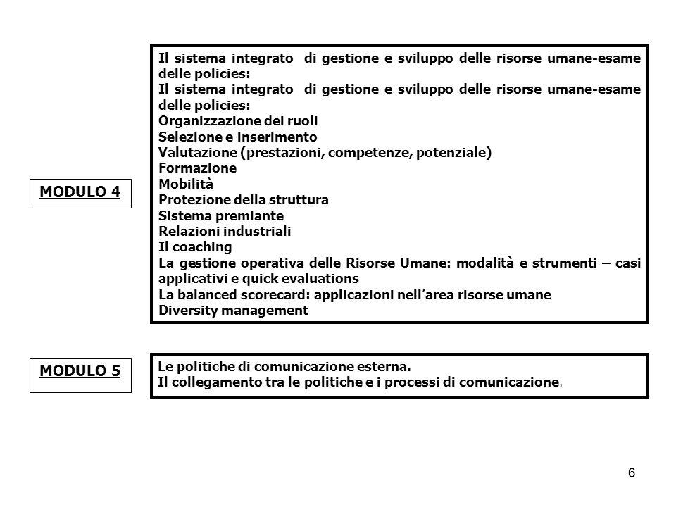 Le politiche di comunicazione esterna. Il collegamento tra le politiche e i processi di comunicazione. MODULO 5 Il sistema integrato di gestione e svi