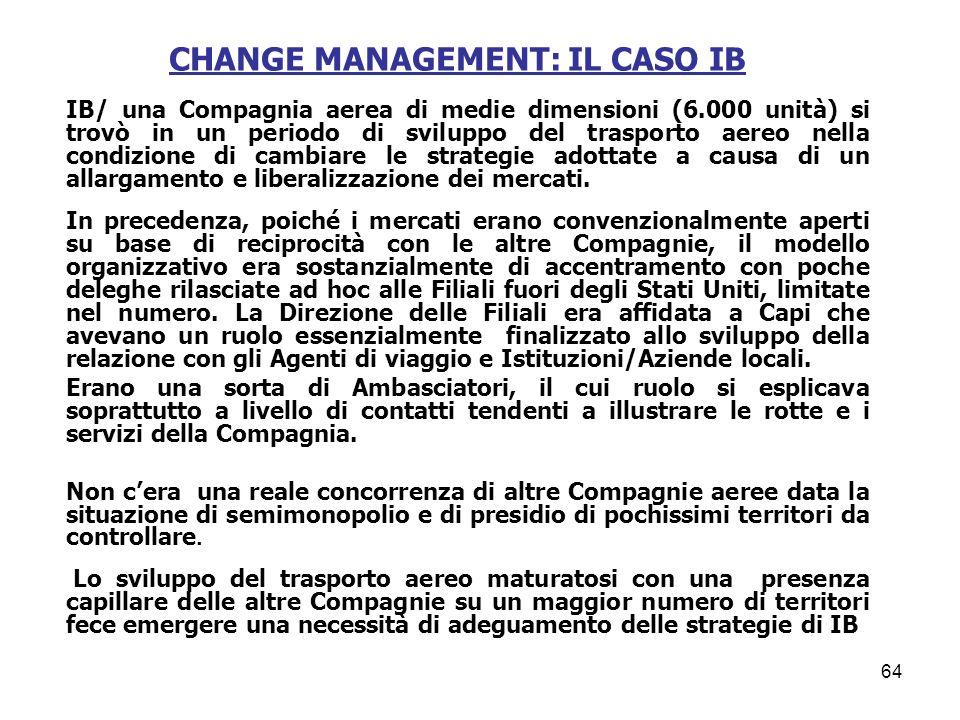 CHANGE MANAGEMENT: IL CASO IB IB/ una Compagnia aerea di medie dimensioni (6.000 unità) si trovò in un periodo di sviluppo del trasporto aereo nella c