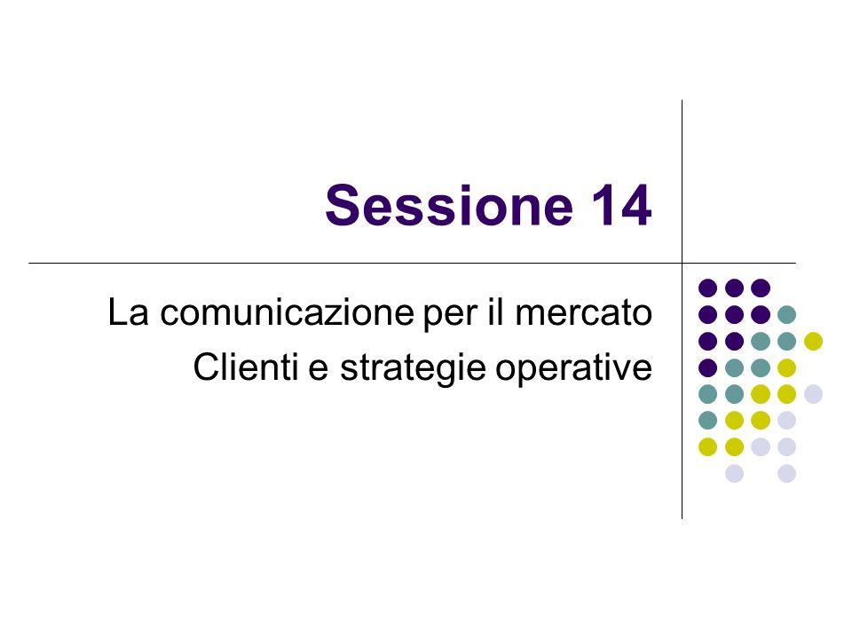 Sessione 14 La comunicazione per il mercato Clienti e strategie operative