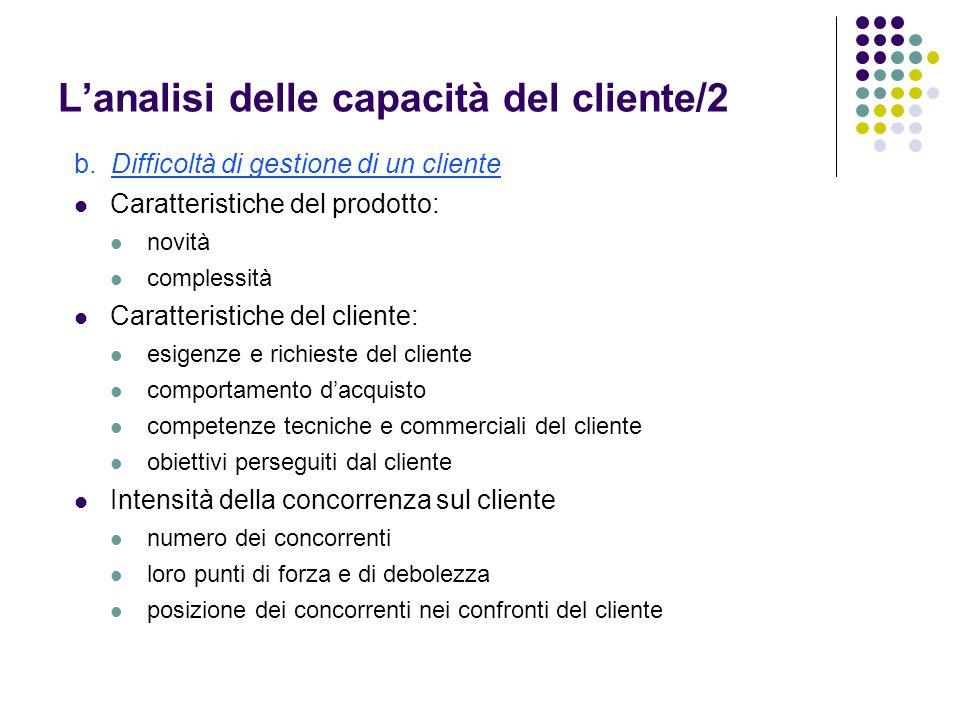 Lanalisi delle capacità del cliente/2 b.