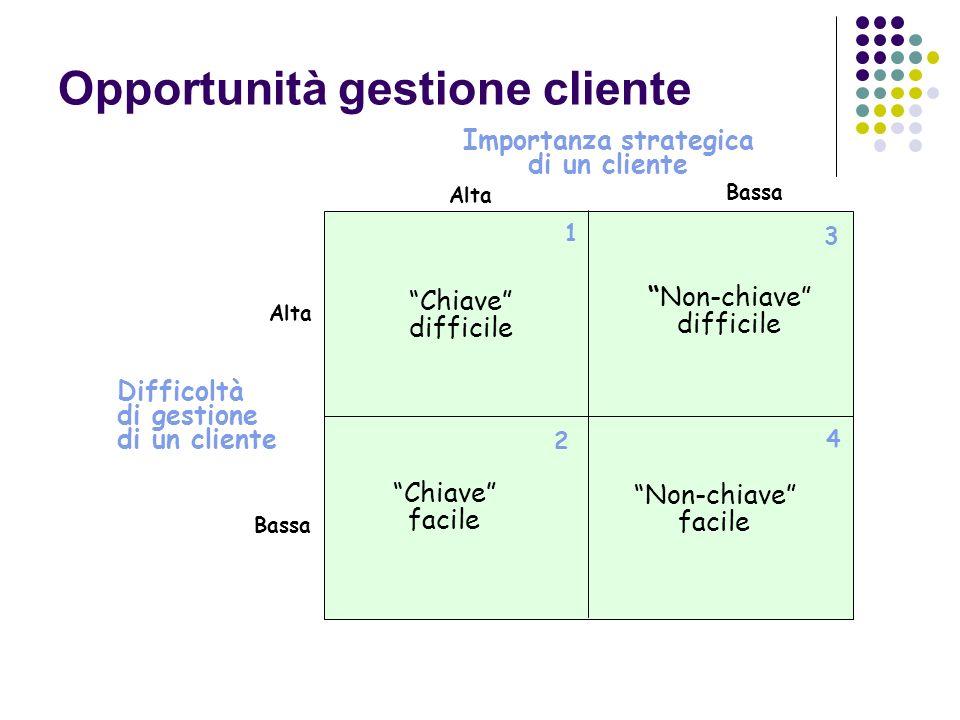 Opportunità gestione cliente Chiave difficile Alta Bassa Difficoltà di gestione di un cliente 1 2 3 4 Non-chiave difficile Chiave facile Non-chiave facile Bassa Alta Importanza strategica di un cliente