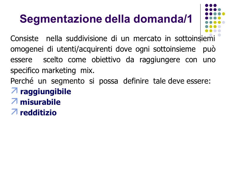 Segmentazione della domanda/1 Consiste nella suddivisione di un mercato in sottoinsiemi omogenei di utenti/acquirenti dove ogni sottoinsieme può essere scelto come obiettivo da raggiungere con uno specifico marketing mix.
