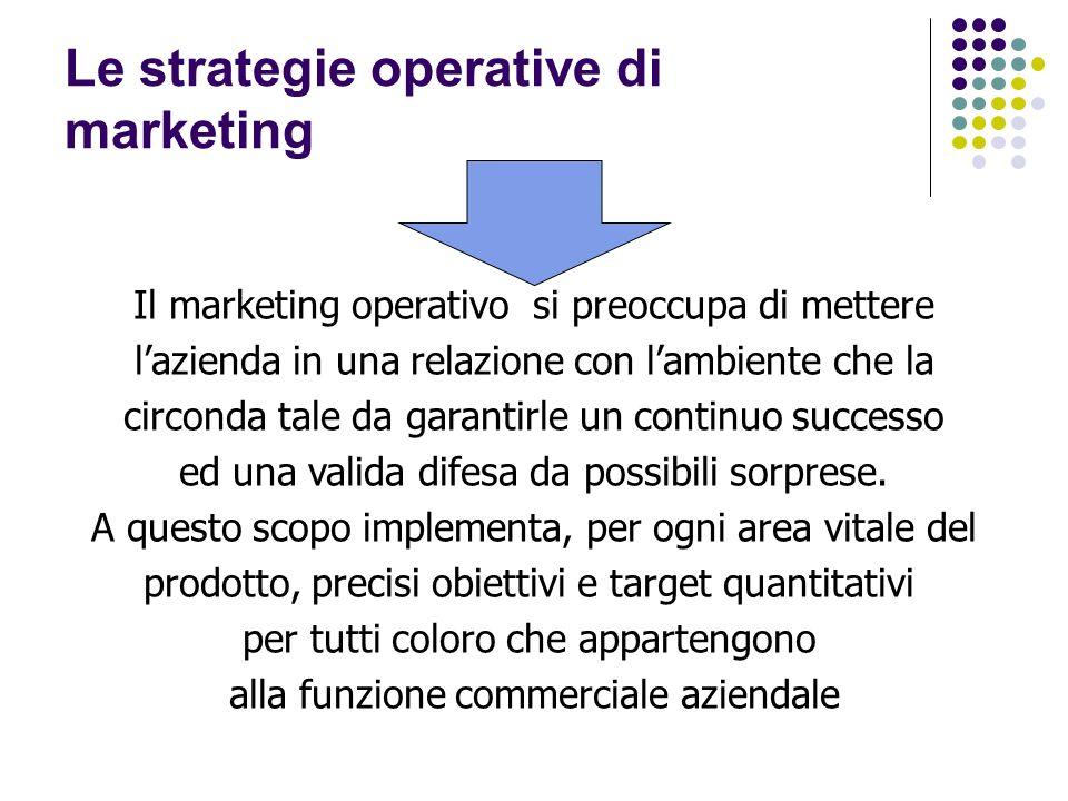 Le strategie operative di marketing Il marketing operativo si preoccupa di mettere lazienda in una relazione con lambiente che la circonda tale da garantirle un continuo successo ed una valida difesa da possibili sorprese.