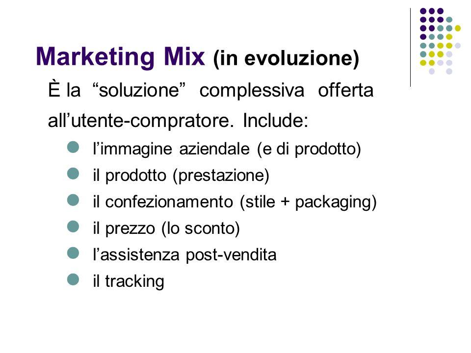 Marketing Mix (in evoluzione) È la soluzione complessiva offerta allutente-compratore.