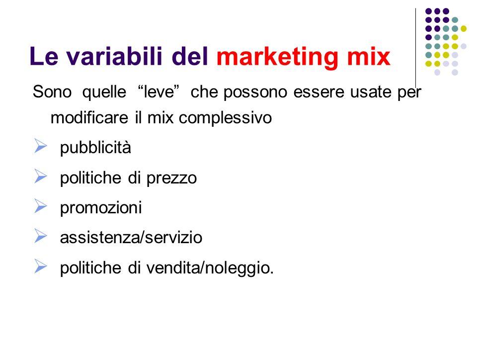 Le variabili del marketing mix Sono quelle leve che possono essere usate per modificare il mix complessivo pubblicità politiche di prezzo promozioni assistenza/servizio politiche di vendita/noleggio.