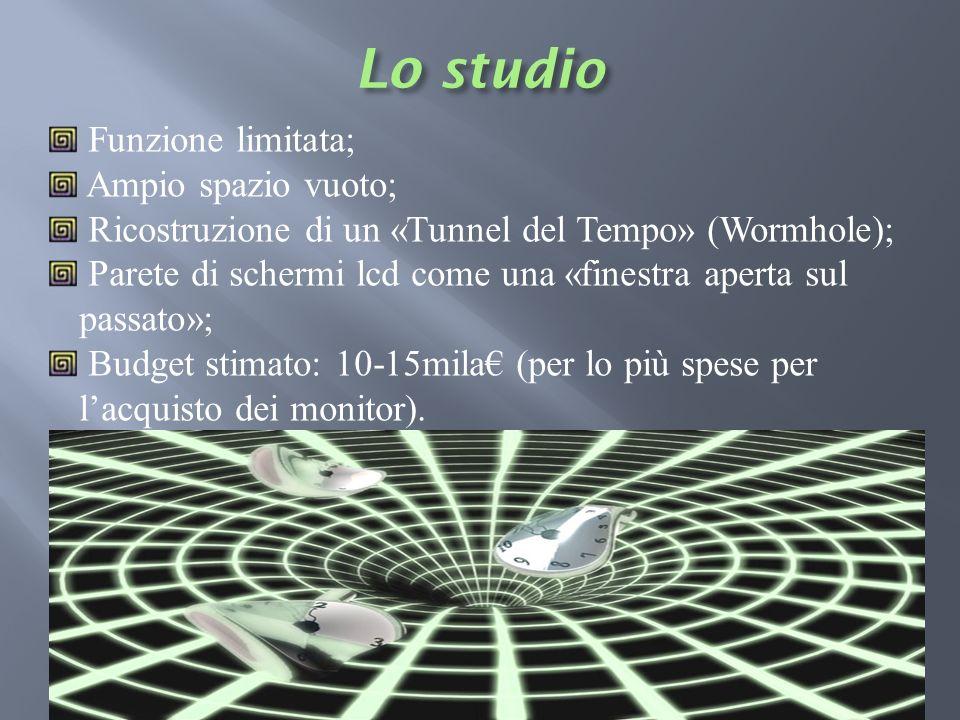 Funzione limitata; Ampio spazio vuoto; Ricostruzione di un «Tunnel del Tempo» (Wormhole); Parete di schermi lcd come una «finestra aperta sul passato»