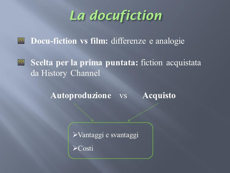 AutoproduzionevsAcquisto Docu-fiction vs film: differenze e analogie Scelta per la prima puntata: fiction acquistata da History Channel Vantaggi e sva