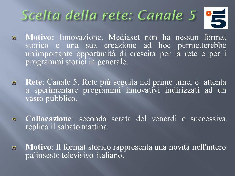 Motivo: Innovazione. Mediaset non ha nessun format storico e una sua creazione ad hoc permetterebbe un'importante opportunità di crescita per la rete