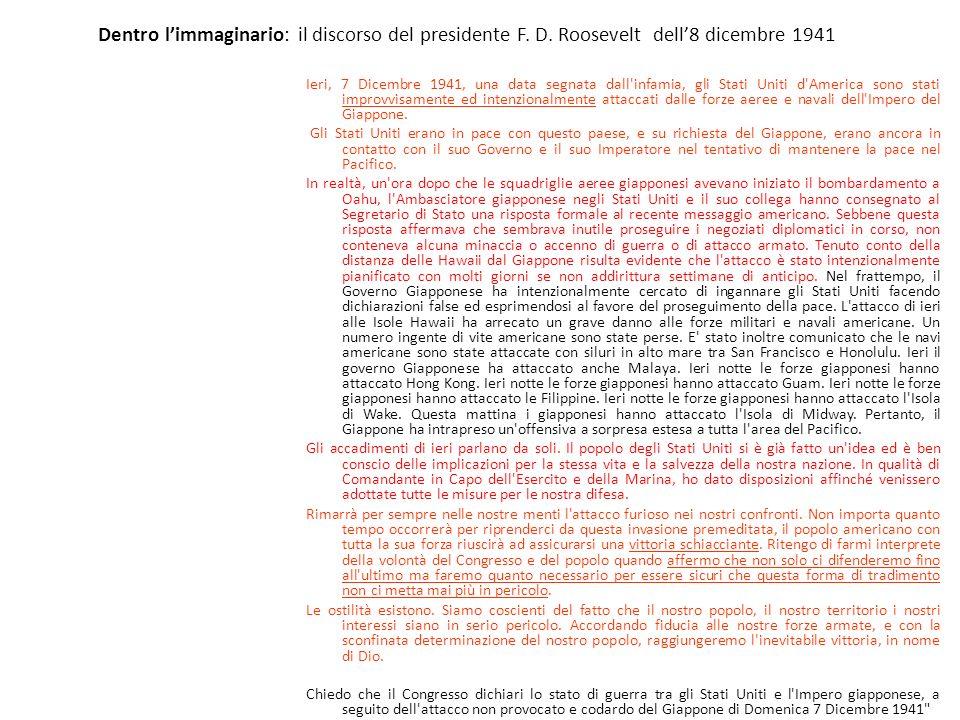 Dentro limmaginario: il discorso del presidente F. D. Roosevelt dell8 dicembre 1941 Ieri, 7 Dicembre 1941, una data segnata dall'infamia, gli Stati Un