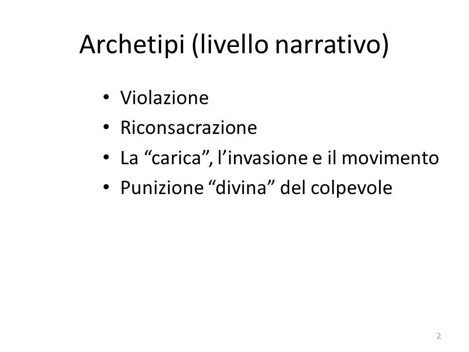 Archetipi (livello narrativo) Violazione Riconsacrazione La carica, linvasione e il movimento Punizione divina del colpevole 2