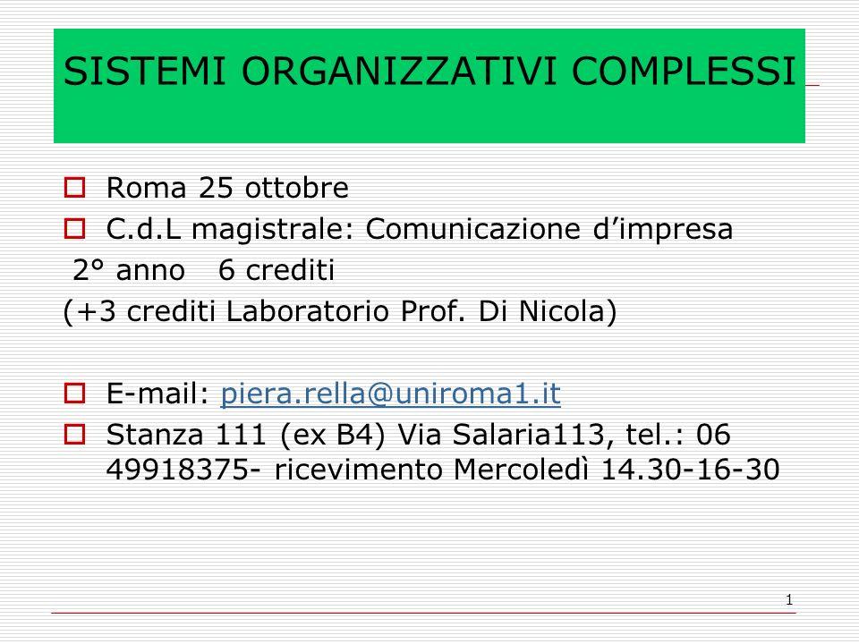 1 SISTEMI ORGANIZZATIVI COMPLESSI Roma 25 ottobre C.d.L magistrale: Comunicazione dimpresa 2° anno 6 crediti (+3 crediti Laboratorio Prof. Di Nicola)